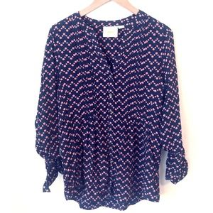 Anthropologie Maeve pleated polka dot button top